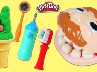 Feeding Play Doh Dentist Dr Drill Kinetic Sand Ice Cream Popsicles and Fixing Play Dough Teeth!