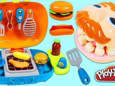 Feeding Play Doh Drill N Fill BBQ Barbecue Playset and Toy Velcro Cutting Fruit & Toy Microwave!