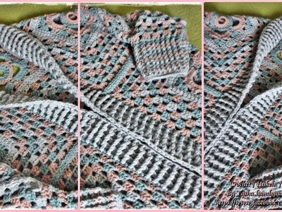 Granny square crochet cardigan 2. part - Step by step for beginners