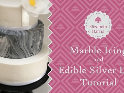How to: Marble Icing and Edible Silver leaf | Cake Decorating Tutorial