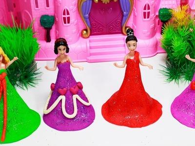 Learn Colors for Children Sparkle Disney Princess Dresses Elsa Cinderella Play Doh Compilation