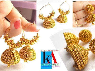 Making of ring model silk thread jhumkas with loreals and ball chain 2 in 1
