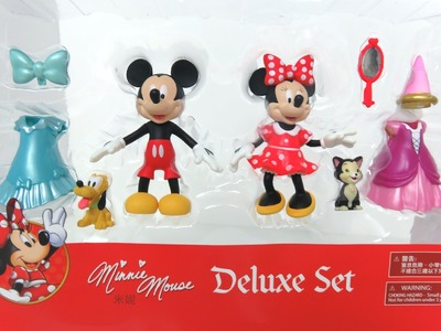 Minnie Mouse Deluxe Fashion Set Disney Princess Mickey Mouse Pluto Figures Clip Ons Magiclip
