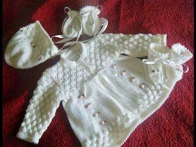 """NEW SWEATER DESIGN FOR KIDS    white colour    '' woolen set of baby dress """""""