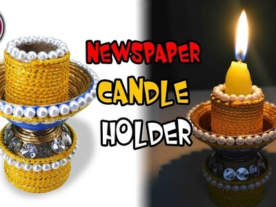 Newspaper Candle holder. Diya Stand | DIY | Best out of waste | Art with Creativity 278