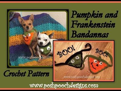 Pumpkin and Frankensten Bandannas Crochet Pattern