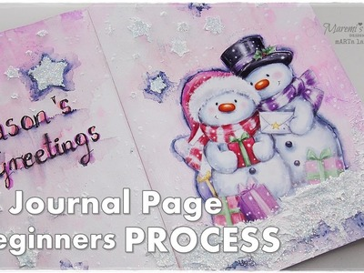 Season's Greetings Journal Page for Beginners ♡ Maremi's Small Art ♡