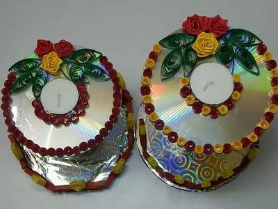 CD decoration using  paper quilling | candle decoration | christmas decorations | DIY | candle stand
