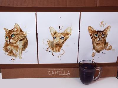 Coffee kitties - coffee painting time lapse