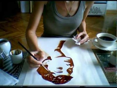 Coffee painting of Audrey Hepburn portrait