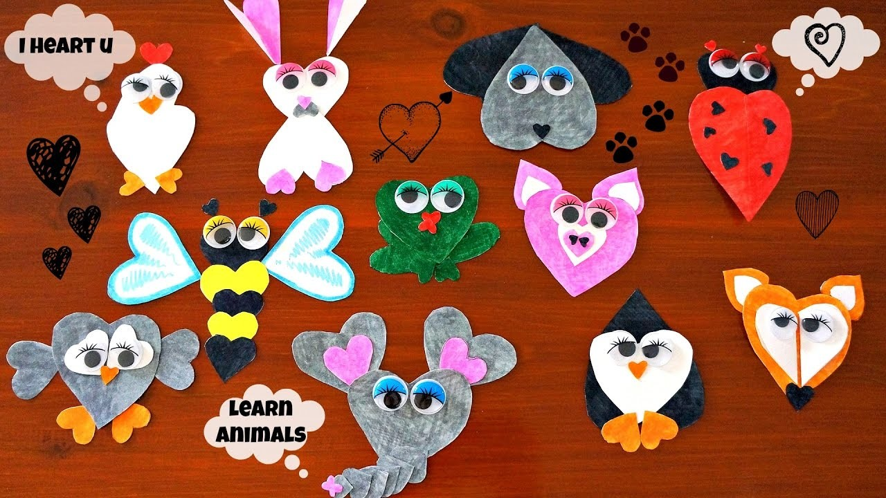 Create Cute Animals Using Heart Shapes | Learn Animal Names and Sounds | Creative Craft for Kids
