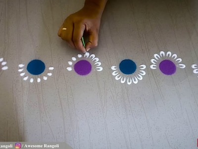 Easy Beginners Border Rangoli Design Tutorial