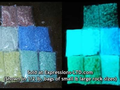 Glow in the Dark Rocks Glass Aggregate in Concrete Countertop