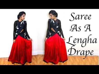 How to Drape a Saree into a Lehengha. Half Saree Tutorial | Thuri Makeup