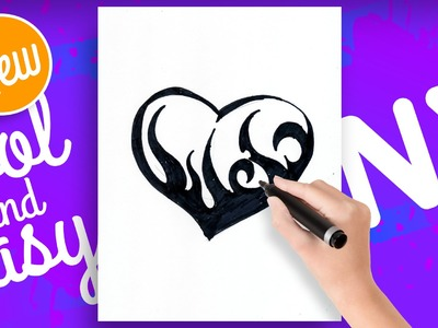 How to draw hearts with designs step by step tattoo - Como dibujar un corazon tatuado - Drawing NX