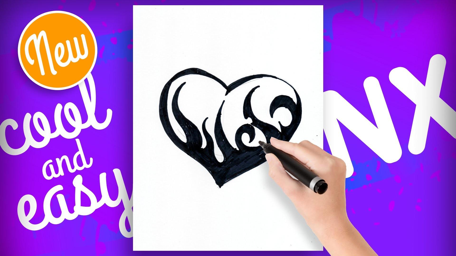 How to draw hearts with designs step by step tattoo - Como dibujar un corazon tatuado - Drawing NX
