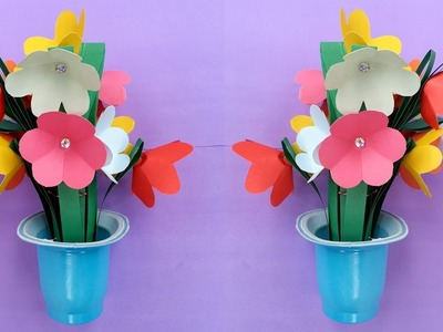How To Make a Beautiful Paper Flower Bouquet For Room Decoration !!!