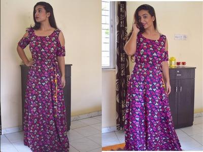 HOW TO MAKE DESIGNER LONG DRESS   DESIGNING & STICHING   INDIAN DRESS IN RS 350 DRESS   SONYA M