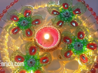 Last Minute Diwali Decoration Idea using Plastic Bottles | Diya Decoration at Home | StylEnrich