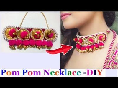 Pom Pom Necklace making   How to make  pom pom Necklace.Gota patti jewellery - navratri special