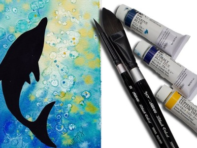 Watercolor Dolphin  for beginners painting the Ocean ????????   alcohol technique