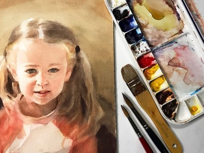 Watercolor portrait painting of a young girl - full lesson