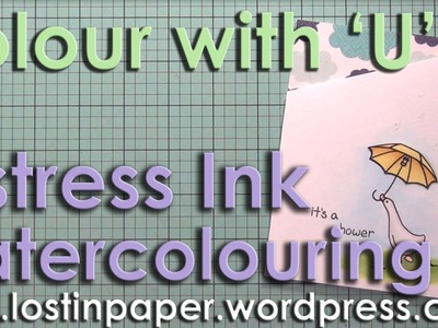 Colour with U Watercolour with Distress Ink  Baby Shower card
