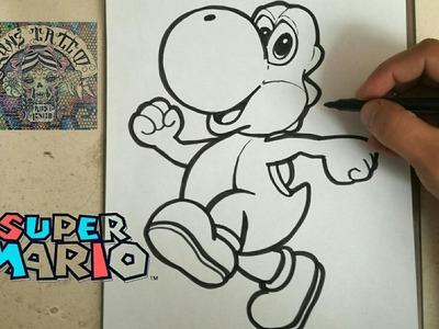 COMO DIBUJAR A YOSHI - MARIO BROS. how to draw yoshy - mario bros