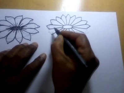 Drawing Tutorial - How to Draw Simple Flower Sketch for Kids