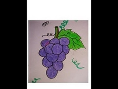 Easy drawing for kids,grapes drawing and coloring in simple step