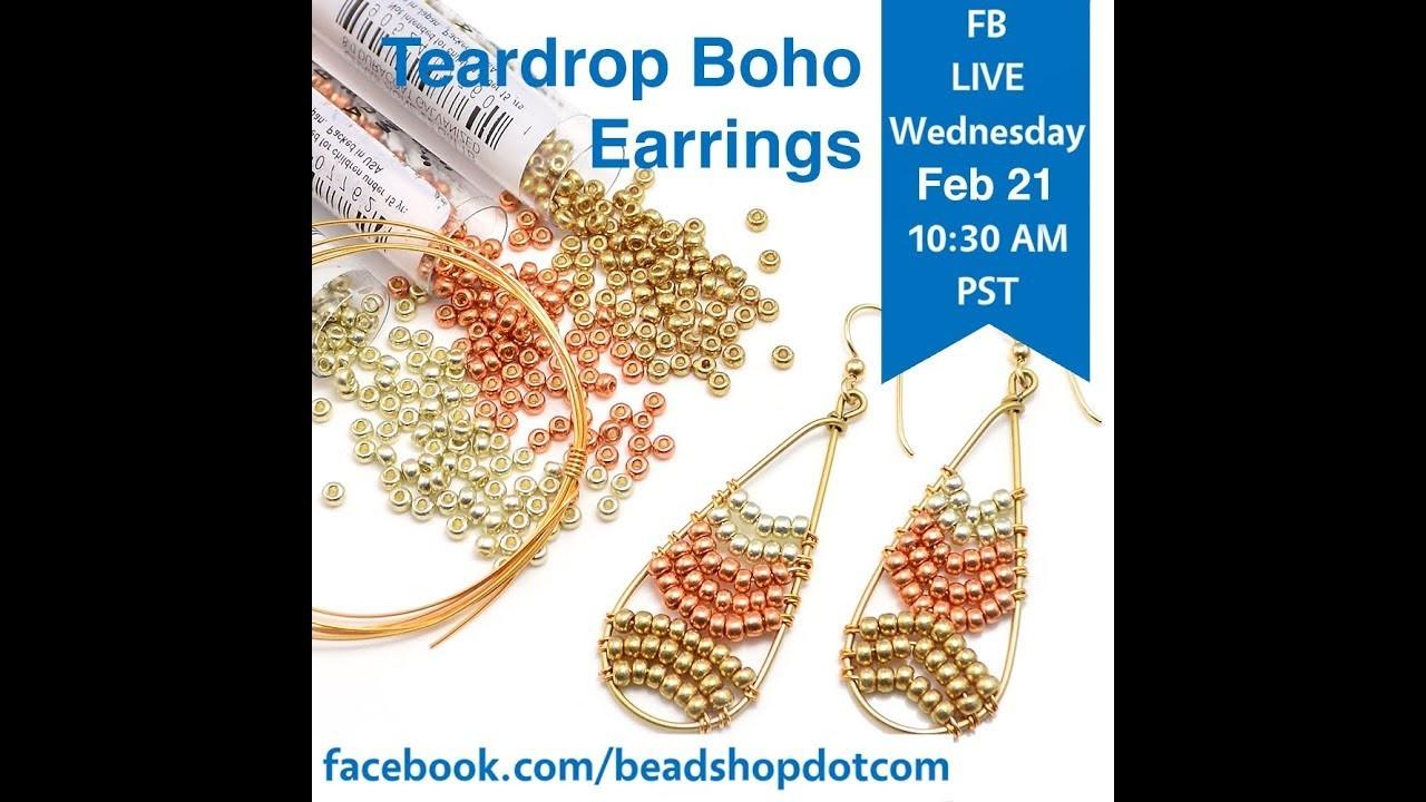 FB Live beadshop.com Teardrop Boho Earring with Kate and Emily
