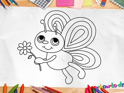 How to draw a Butterfly - Easy step-by-step drawing lessons for kids