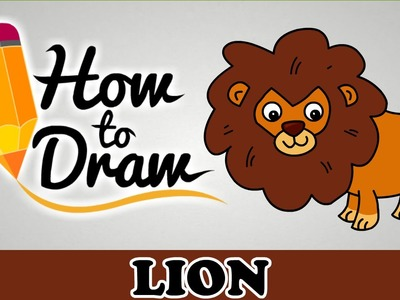 How To Draw A Lion - Easy Step By Step Cartoon Art Drawing Lesson Tutorial For Kids & Beginners