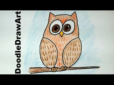How To Draw an Easy Wise Old Owl Cartoon - Beginner Drawing Lesson for Kids!