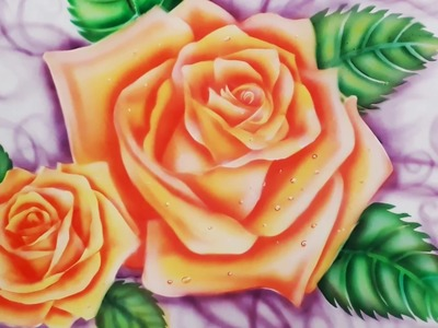 How to paint rose in airbrush painting