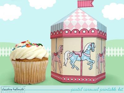 Make a carousel cupcake and favor box printable kit