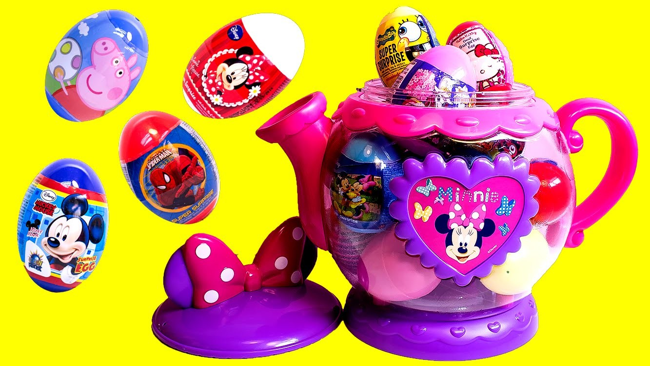 Minnie Mouse Tea Set Spiderman Superhero Surprise Eggs Peppa Pig Mickey Mouse and More!