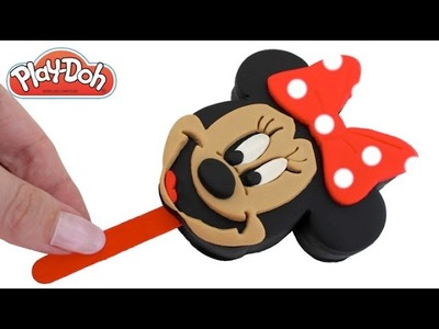 Play Doh How to Make a Minnie Mouse Ice Cream Popsicle DIY RainbowLearning