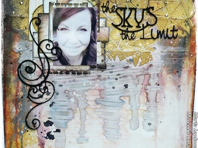 'The sky's the limit' mixed media layout for ScrapFX