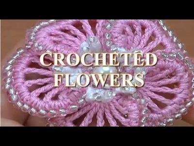 3D CROCHET BEADED FLOWER WITH STAMENS TUTORIAL 9