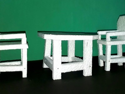 DIY chair and table from thermocol.how to make mini dining table for doll.easy kids school project.