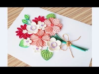 DIY Paper quilling Flower Card Design 34. Quilling flower card. Greeting Card