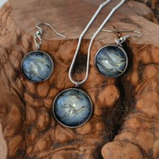 Dragon Glass, earring pendant set, womans necklaces, dangle earrings, handmade wearable art, unique jewelry, gift ideas for her,