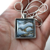 Dragon Glass, Square Glass pendant, womans necklaces, fantasy jewelry, handmade wearable art, unique jewelry, gift ideas for her, grey stone