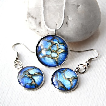 Elven Ice, earring set, blue gold jewelry, dangle earrings, Handmade wearable art, valentine gifts for her, womans necklaces, unique jewelry