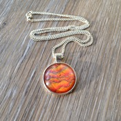 Fairy Fire, Red Orange pendant, unique jewelry, handmade wearable art, womans necklaces, valentine gifts for her, fantasy jewelry, red stone