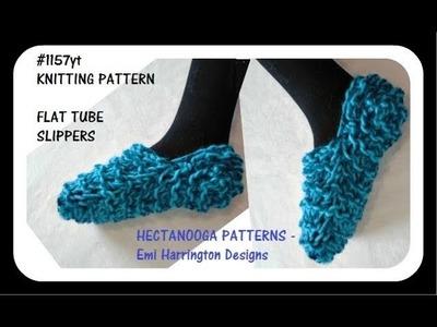 FREE KNITTING PATTERN, Easy beginner slippers, flat tube method, #1157yt