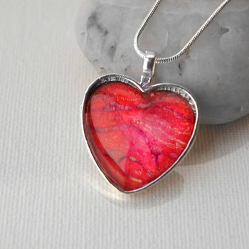 Heart Pendant, Valentines day gift idea, heart jewelry, love necklace, neck candy, handmade wearable art, Red jewelry,  gift ideas for her