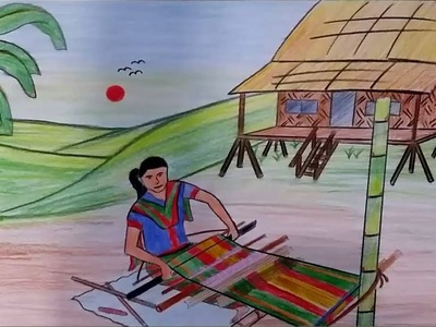 How to draw a scenery of Loom Cloth Woven step by step