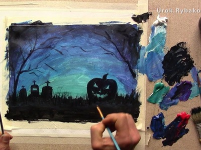 How to Draw Halloween Pictures - Video lesson How to paint Halloween with acrylic!